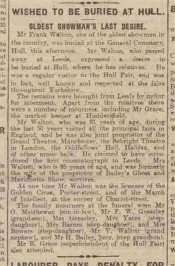 Report of Frank Walton's burial at Hull