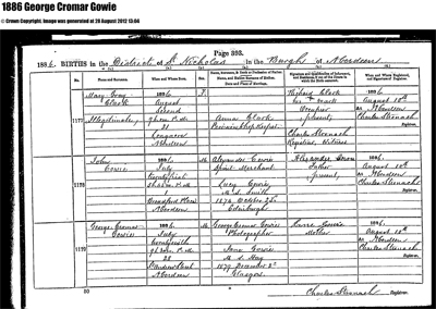 Birth certificate of George Cromer Gowie (Junior) 1886