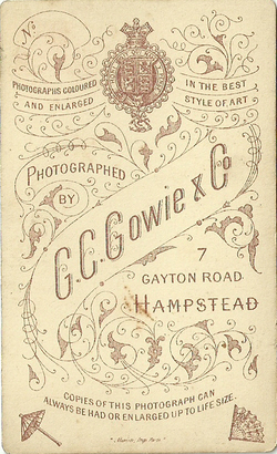 C G Gowie & Co carte de visite photograph 1 (verso)