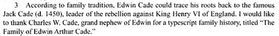 Cade Edwin A Obituary Note