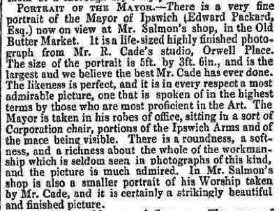 Cade, R 1869  Ipswich Journal re: mayor detail