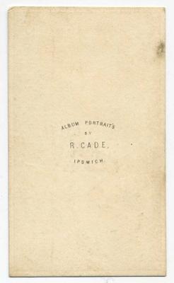 Robert Cade carte de visite photograph 2 (verso)