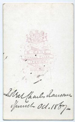 Robert Cade carte de visite photograph 6 (verso)