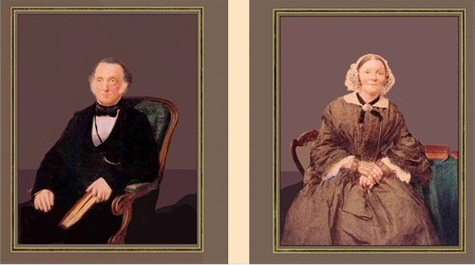 Coloured photographs of Robert Cade and his wife Fanny Cade 1858