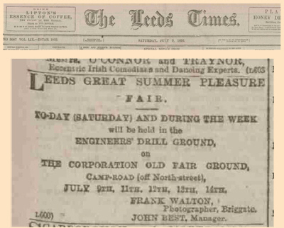 Leeds Times advert for Fair at Engineers Drill Ground, Leeds in 1892