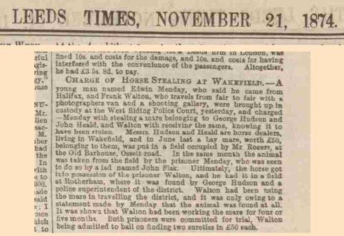 Report of Frank Walton charged with receiving a stolen horse - Leeds Times 1874