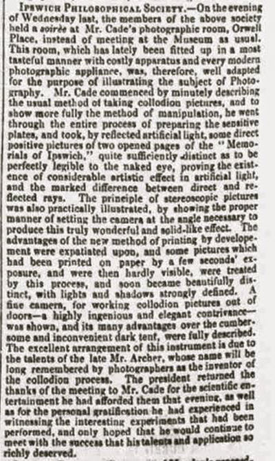 Report of presentation to Ipswich Philosophical Society in the Ipswich Journal 26 August 1864