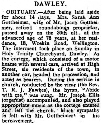 Sarah Ann Gottheimer's obituary. Shrewsbury Chronicle 8th. April 1927