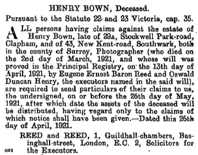 Bown, Henry decd London Gazette 29 Apr 1921