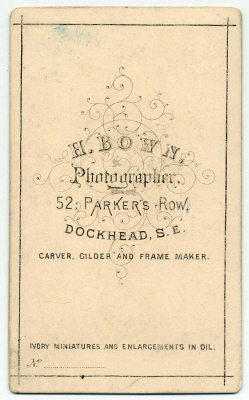 Henry Bown photograph 1 - carte de visite (verso)