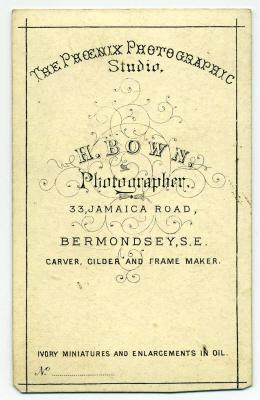 Henry Bown photograph 2 - carte de visite (verso)