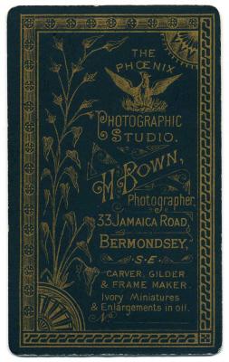 Henry Bown photograph 3 - carte de visite (verso)