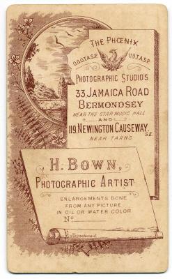 Henry Bown photograph 4 - carte de visite (verso)