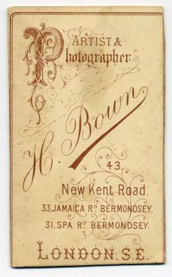 Henry Bown photograph 5 - carte de visite (verso)
