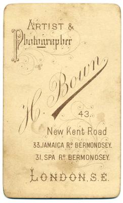 Henry Bown photograph 6 - carte de visite (verso)