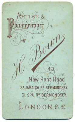 Henry Bown photograph 7 - carte de visite (verso)