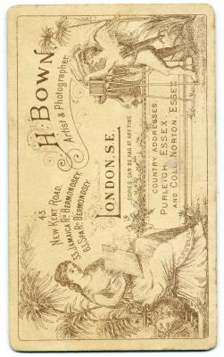 Henry Bown photograph 12 - carte de visite (verso)