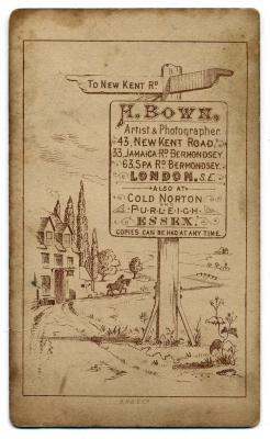 Henry Bown photograph 13 - carte de visite (verso)