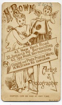 Henry Bown photograph 16 - carte de visite (verso)