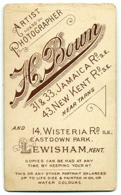 Henry Bown photograph 20 - carte de visite (verso)