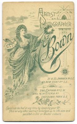 Henry Bown photograph 25 - carte de visite (verso)