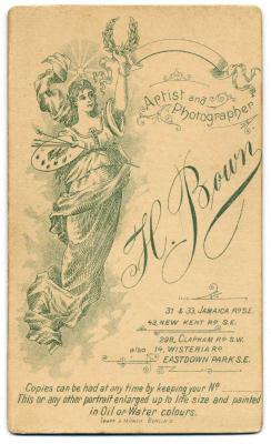 Henry Bown photograph 26 - carte de visite (verso)