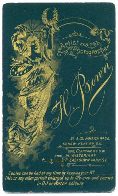 Henry Bown photograph 27 - carte de visite (verso)