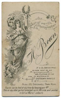 Henry Bown photograph 30 - carte de visite (verso)