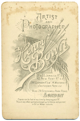 Henry Bown photograph 31 - cabinet card (verso)