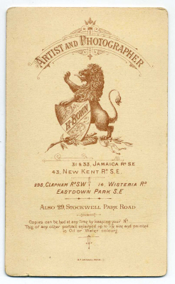 Henry Bown photograph 32 - carte de visite (verso)