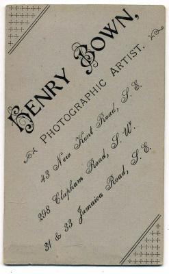 Henry Bown photograph 33 - carte de visite (verso)