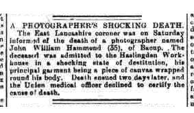 Hammond, J W 1901 report of death