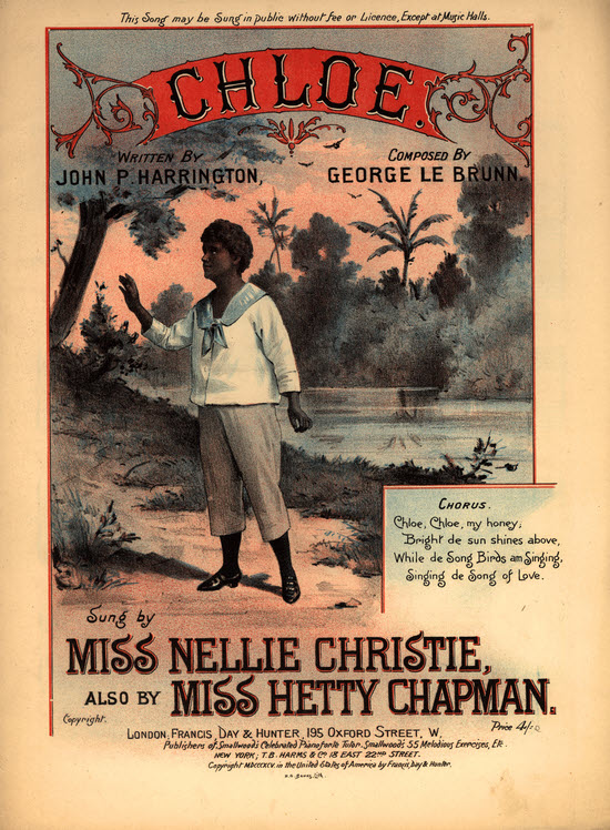 A song sheet for 'Chloe' as sung by Miss Hetty Chapman
