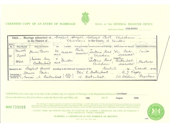 Bown, Marion nee Brokenbrow- Marriage Certificate 1904 96dpi