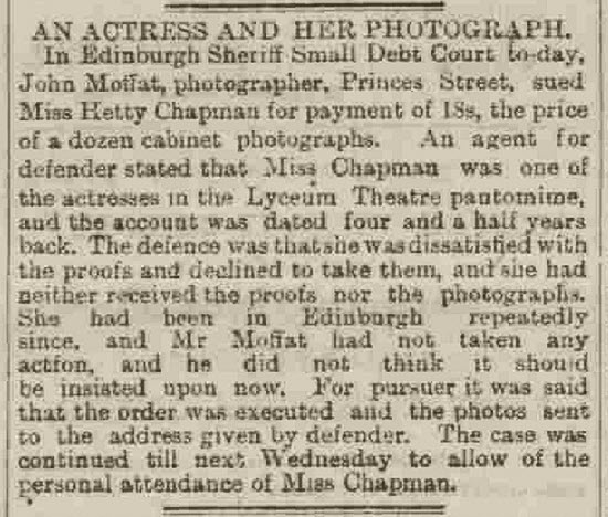 Report on John Moffat's case against Miss Hetty Chapman 1886