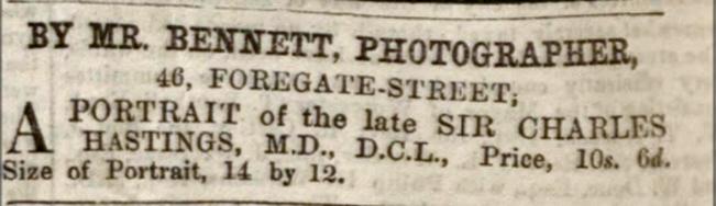 Thomas Bennett Advertisement from 1866