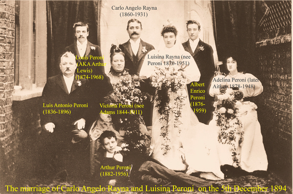 Marriage of Carlo Angelo Rayna to Luisina Peroni in 1894
