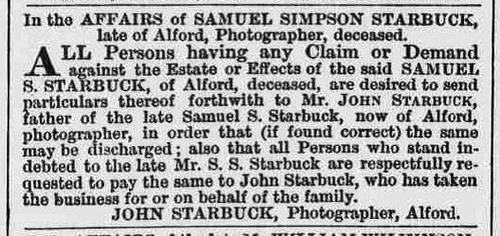 Starbuck John re death of son Samuel S Starbuck 1869