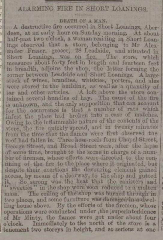 1877 Aberdeen Press & Journal - 1 August 1877 - Alarming Fire in Short Loanings part 1 of 2 - 1877 Ernest Donald