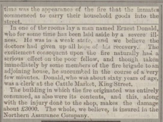 1877 Aberdeen Press & Journal - 1 August - Alarming Fire in Short Loanings part 2 of 2 - 1877 Ernest Donald