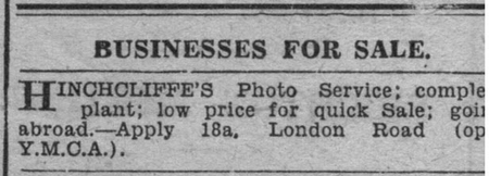 Hinchcliffe Studio for sale 18a London Road Leicester newspaper 1930