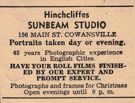 Hinchcliffes Photographers Sunbeam Studio Cowansville Quebec Canada